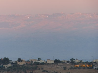 sunrise and Jerusalem in the distance